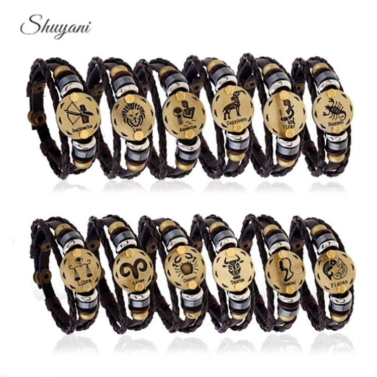12 Zodiac Signs Bracelet Punk Leather Bracelet 12 Constellations Bracelets Men Casual Personality Antique Gold Alloy Bracelet
