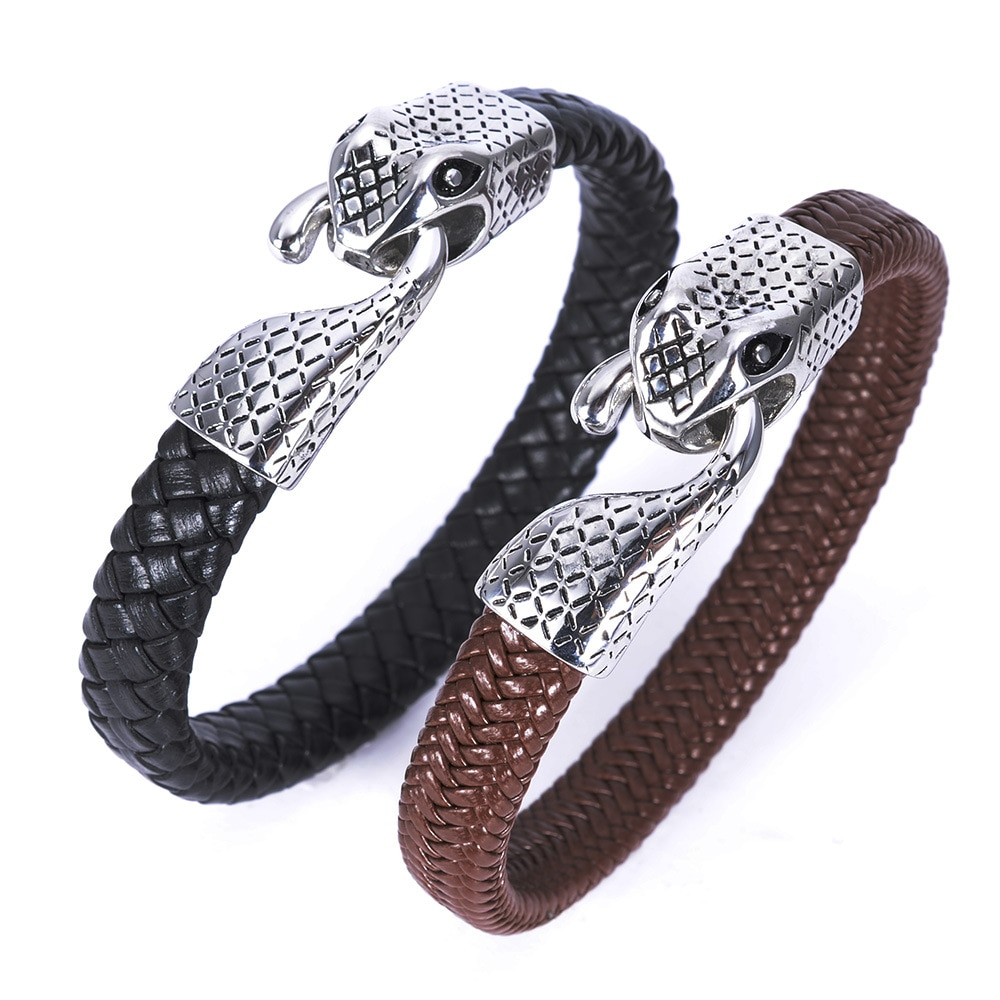2017 antique silver leather bracelet with stainless steel claps in 2 colors black and brown Genuine leather bracelet for man
