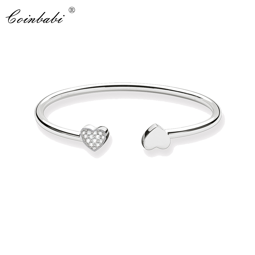 Bracelets Bangles Ts Heart Pave 925 Sterling Silver Fashion Ts Romantic Glam Jewelry For Women Thomas Style Soul Punk Fine Gift