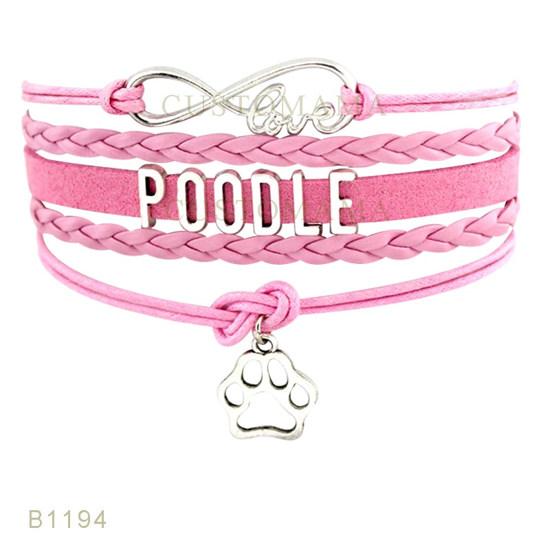 Custom- Infinity Love Poodle Dog Paw Charms Bracelets For Women Men Jewelry Gifts Pink Blue Suede Leather Wrap Bracelets
