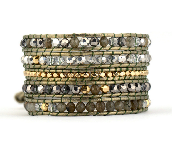 Exquisite Natural Stones with Crystals Leather Wrap Bracelets Wholesale Handmade Multilayers Bohemian Bracelet Dropshipping