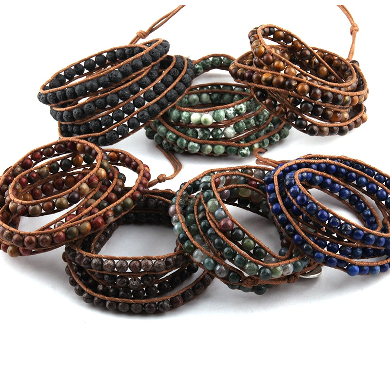 Free Shipping Beautiful Fashion Stone Beads Long Wrap Bracelet 4 Wraps Leather Beads Bracelet For Women