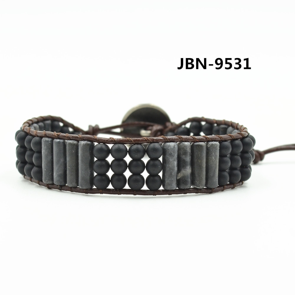 High Quality Natural black stone Beads Woven Leather Wrap Bracelet Unisex Natural Stone Bracelet women Leather Rope Jewelry