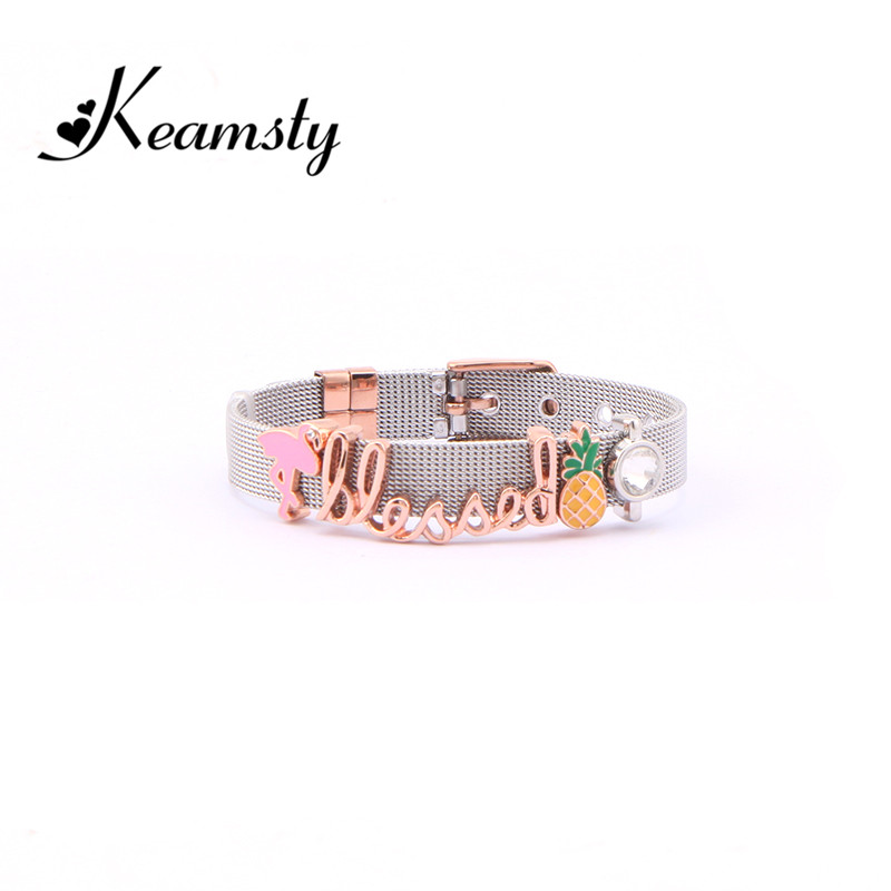 Keamsty Charms Bracelets Set Stainless Steel Mesh Coconut Tree Owl Leaf with 4pcs Slide Charms Keeper as Women Gift