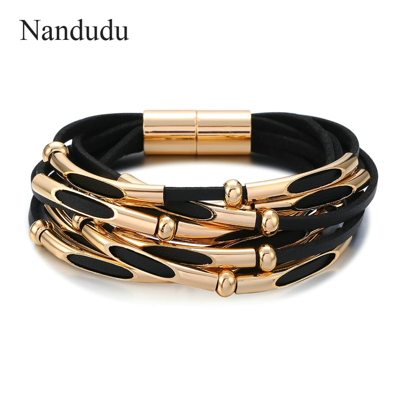 Nandudu Fashion Black and Gray Braided Rope Leather Bracelets for Women Fashion Jewelry Magnetic Clasps Bangles Gift B1091