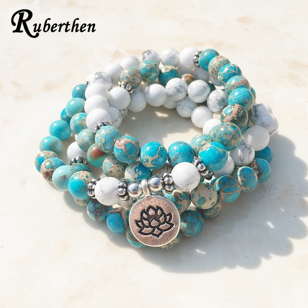 Ruberthen Fashion Design Howlite Natural Stone Mala Bracelet 108 Beads Mala Wrap Bracelet or High Quality Lotus Bracelet