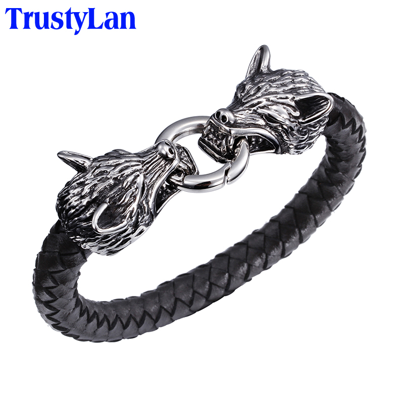 TrustyLan Cool Stainless Steel Wolf Head Men'sBracelets Bangles Quality Black Genuine Leather Bracelet Men Pulseras Jewelry Gift