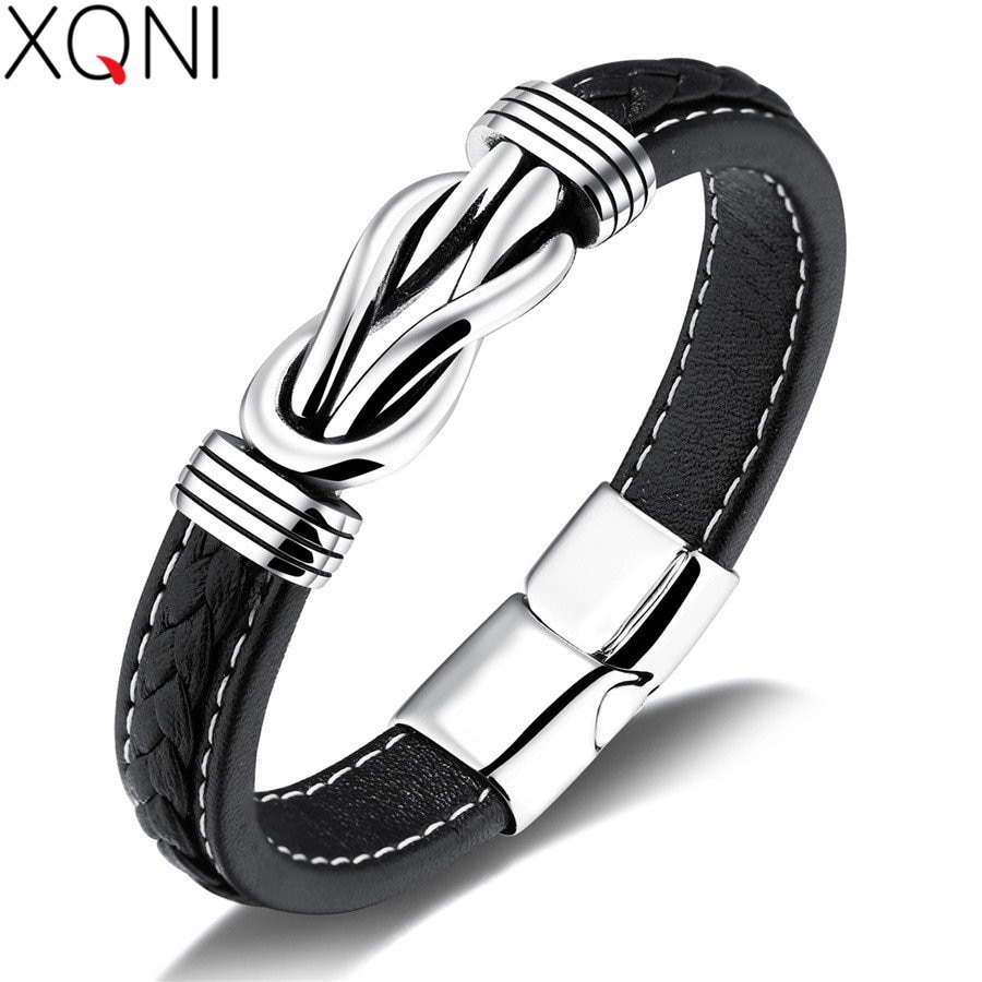 XQNI Genuine Leather Unique Knot Shape Men Bracelets White Stitch Line Design Magnet Buckle Male Wrap Birthday Party Gift
