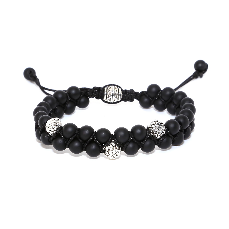 drop shipping Lutos beads Buddahism style bracelet 6mm Natural Stone onyx beads OM Beads Energy braid wrap bracelet for men