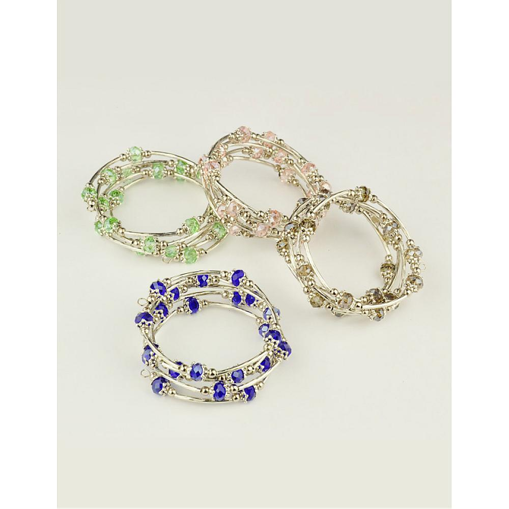 30 Strands Mixed Color Fashion Wrap Bracelets with Abacus Glass Brass Tube Beads Tibetan Style Bead Caps & Steel Memory Wire