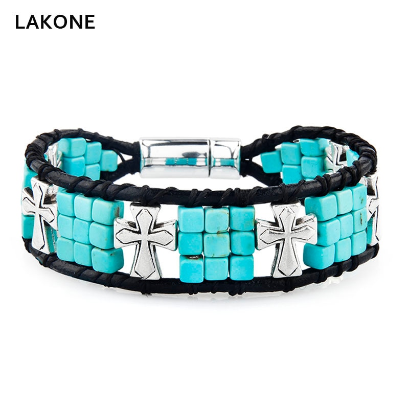 Beaded Wrap Bracelet Cube Square Turquoises Leather Cross Native American Men Boho Magnetic Clasp Southwestern Jewelry