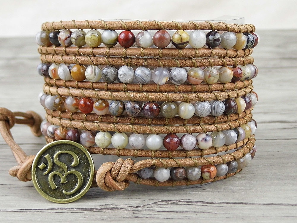 Boho Wrap Bracelet gypsy Leather wrap bracelet Crazy natural beads brown leather natural stone Jewelry friendship gift