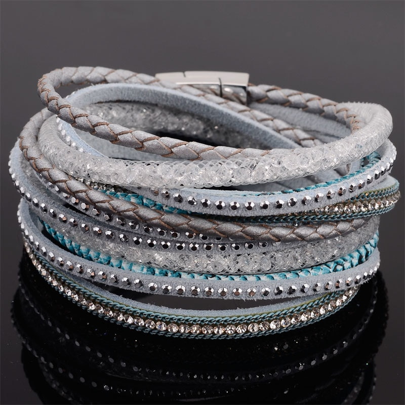 Double Wrap Leather Rhinestone Bracelets Crystal Multilayer Braided Leather Bling Double Wrap Magnetic Bracelets B1533