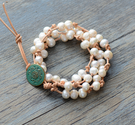 FRESHWATER Pearl Leather Knotted Wrap Bracelet Handmade Natural Pearls Boho Wedding Bracelet Wife's Gift Dropship Jewellery