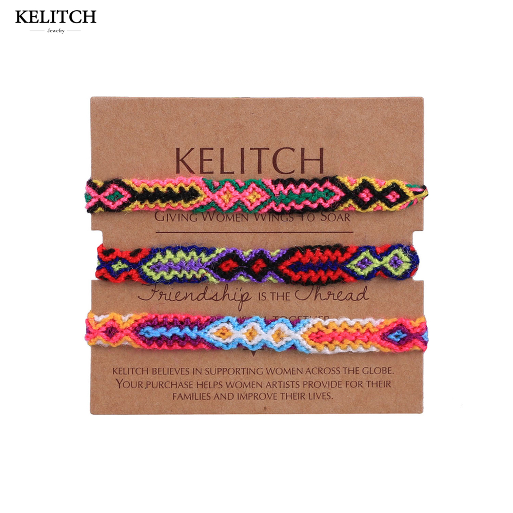 KELITCH bracelet Jewelry thread bracelet 3Pcs/Lot Multicolor Cotton string bracelet Handmade Rope chain Bracelet For Friend Gift