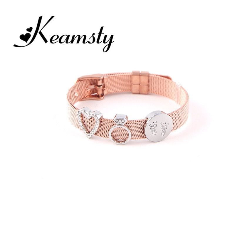 Keamsty Rose Gold Bracelet Crystal Love Charms Bracelets Set Stainless Steel Mesh with Slide Charms Keepers as Women Gift