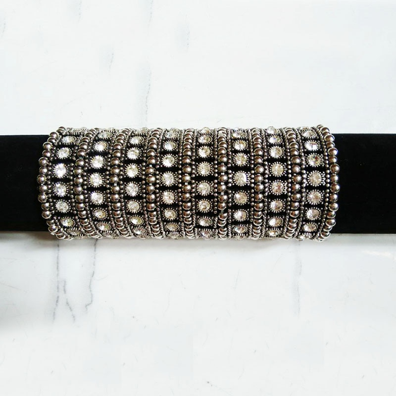 New Design 8 rows antique Silver Plated Stretch Cord Bracelets & Bangles Rhinestone for Women Birthday Gift Elastic Ropes Style