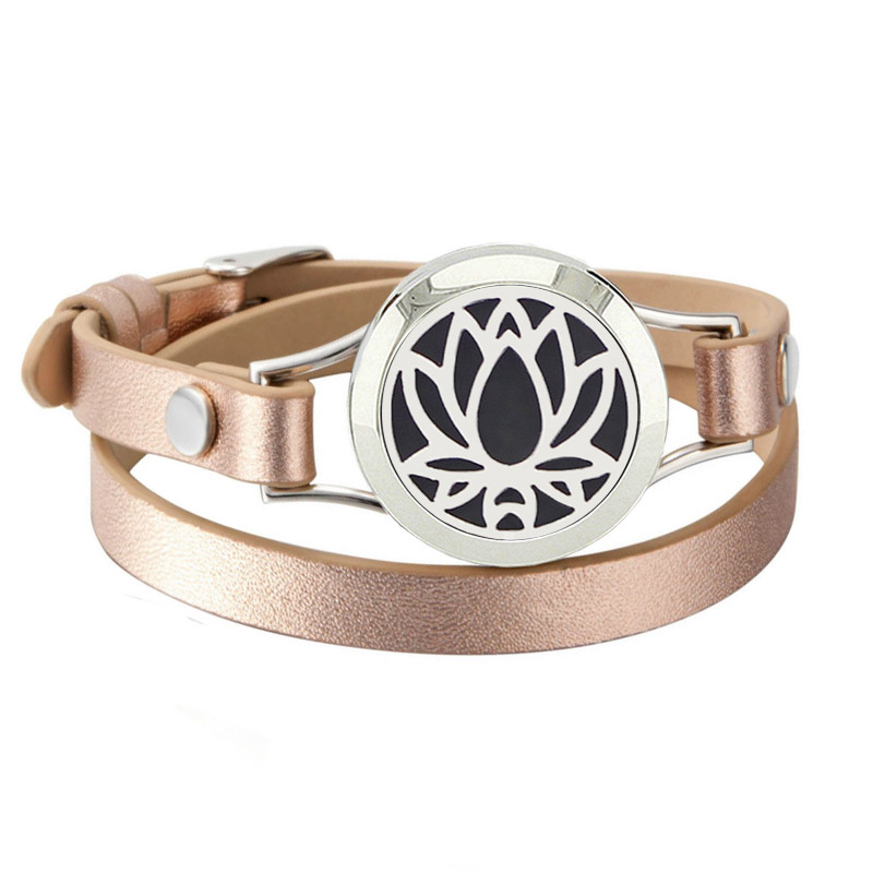New Design Silver Magnetic Bracelets With Rose Gold Leather Band Essential Oil Diffuser Locket Bracelets for Women(with 5pads)