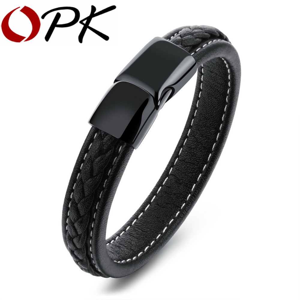 OPK Fashion Wrap Bracelet Men Genuine Leather Rope Chain Simple Whole Black Design With Magnet Buckle Jewelry Wristband PH1101