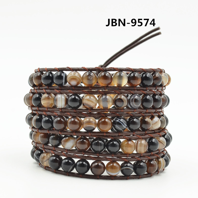 Quality Leather Wrap Bracelet Wholesale brown natural stones Beads Bracelet Multilayer Jewelry Dropshipping JBN-9574