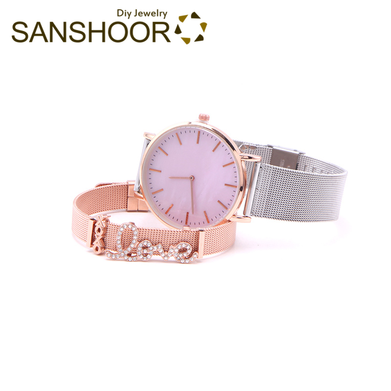 SANSHOOR Love Mesh Armband Keeper Bracelet Set With Rose Gold Shell Watch XOXO Silde Charms As Gift For Women Wristband 2Pcs