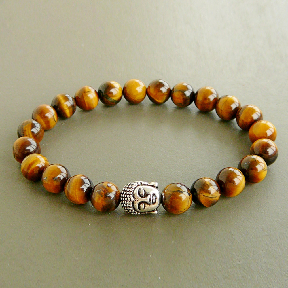 SN0249 Buddha Wrap Bracelet Meditation Yoga Bracelet Men's Tiger Eye Bracelet mens buddha