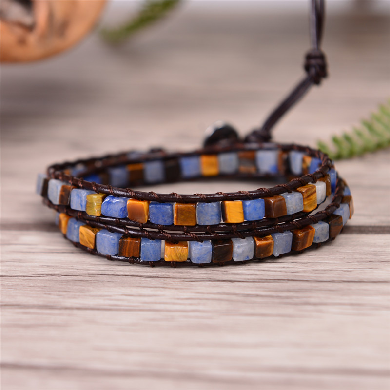 Semi-precious Stone New Women Leather Bracelets High End Mix Natural Stones 2 Strands Wrap Bracelets Friendship Bracelet