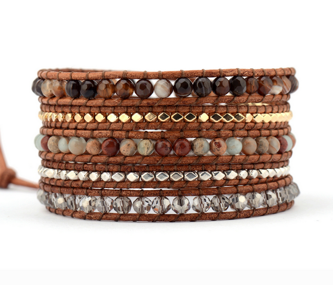 Top Quality Mix Natural Stone Onyx Crystal 5 Layered Leather Wrap Bracelets Multilayer Weaving Beaded Bracelets Handmade