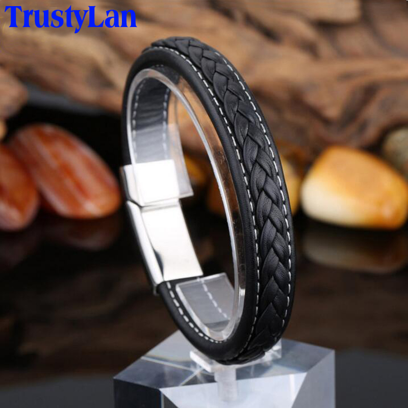 TrustyLan Black Genuine Leather Bracelet Male Fashion New Stainless Steel Jewelry Rock Chunky Wrap Mens Bracelets For Men 2018
