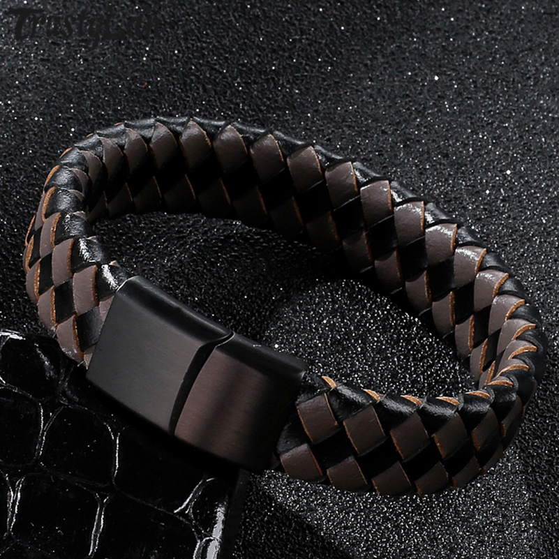 TrustyLan New Braided Leather Wrap Men Bracelet Personalized Handmade Jewellery Cool Stainless Steel Cuff Wristband Armband Man