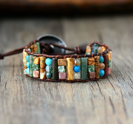 Tube Shape Natural Stones Single Leather Wrap Bracelet Semi Precious Stone Beaded Cuff Bracelet Women Boho Bracelet Dropshpip