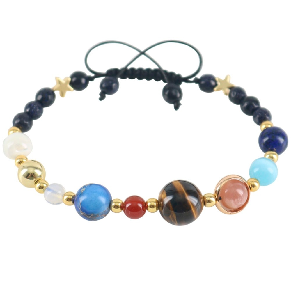 Universe Stars Beaded Wrap Women Bracelets Natural Stones Galaxy Planets In Solar System Infinite Powerful Couple Jewelry