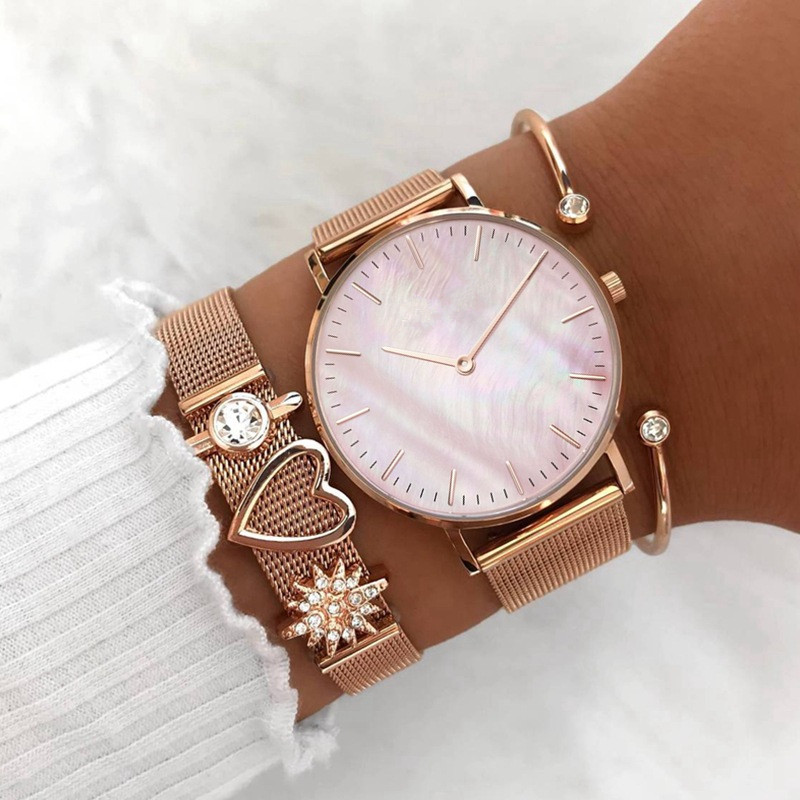 Vinnie Design Jewelry Rose Gold Mesh Watches with Heart Mom Slide Charm Keeper Bracelets