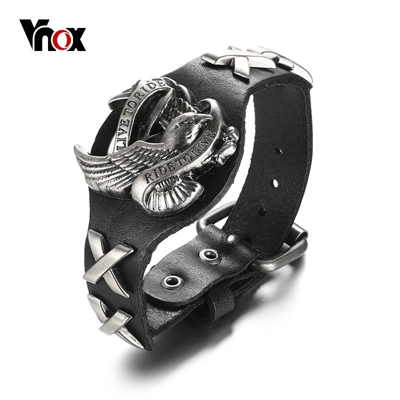 Vnox Punk Rock Eagle Bracelet For Men Genuine Real Leather