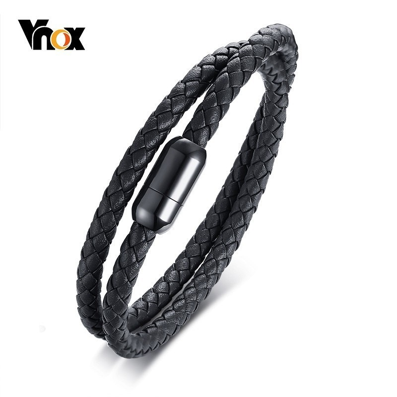 Vnox Stylish Men's Braided Geunine Leather Bracelets Stainless Steel Magnetic Buckle Wrap Bangles Male Jewelry
