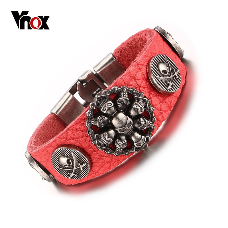 Vnox Trendy Red Color Genuine Leather Rope Chain Bracelet Rock Skull Charm Wrap Bracelets for Men Women Hiphop Jewelry 7.87