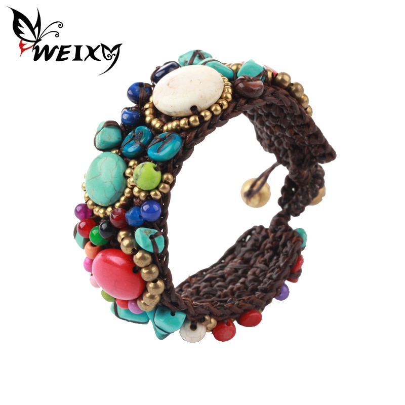 WEIXY Bohemian Charm Bracelet Crystal Multicolor Candy Beads Natural Stone Weave Wrap Bracelets Multilayer Bangle For Women