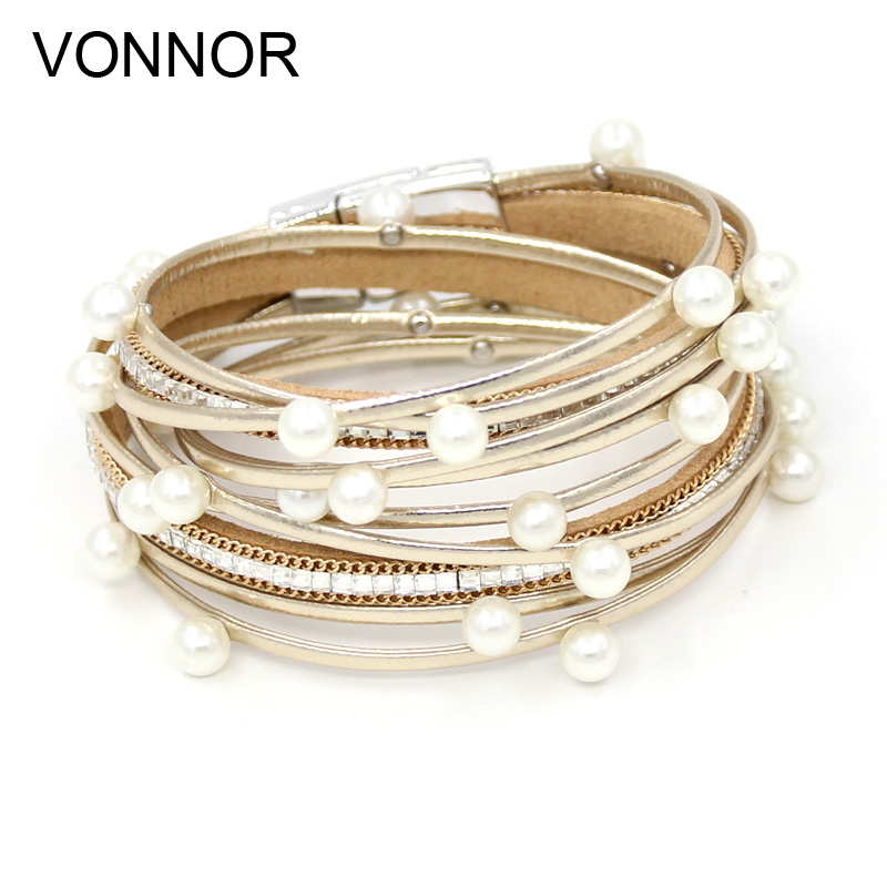 12 PCS Bracelets for Women Luxury Leather Rope Imitation Pearl Multi-layer Winding Bracelet Female Jewelry Wholesale