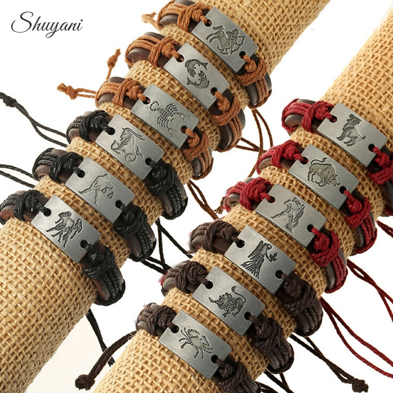 12Pcs/Lot Handmade Adjustable 12 Zodiac Signs Bracelet Punk Zinc Alloy Constellations Charms Leather Bracelet Men Jewelry