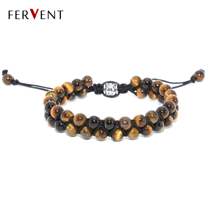 2018 Accept DIY beads and rope men bracelet High quality 6mm Natural Stone tiger eye beads braid wrap bracelet for men