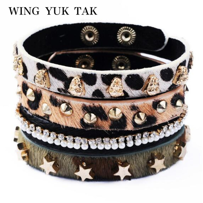 4 Pcs/lot Unique Design Punk style Fashion Leopard Print Rivet Leather Bracelet For Women Charm Jewelry Factory Wholesale