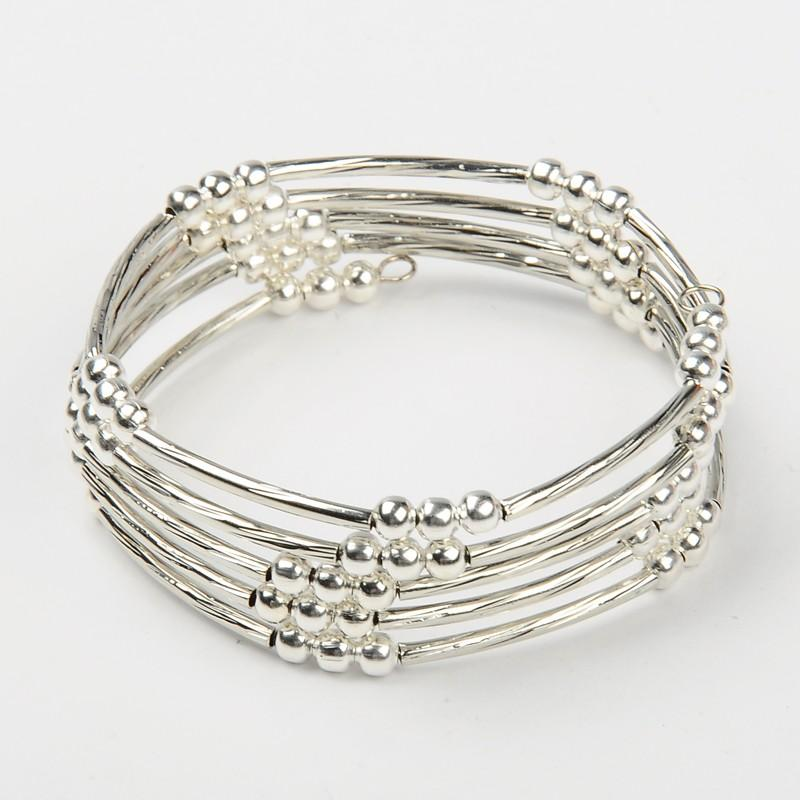 40pcs Unisex Memory Wire Wrap Bracelets Silver Color with Brass Tube Beads and Iron Spacer Beads, 55mm