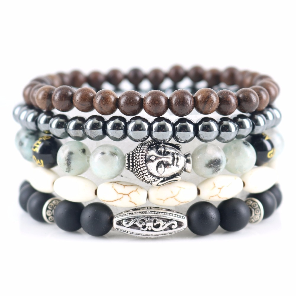 Beasivor Light Blue Stones Hematite Matte Onyx Buddha Bracelets Wooden Beaded Wrap Bracelets & Bangles Multi 5 layers