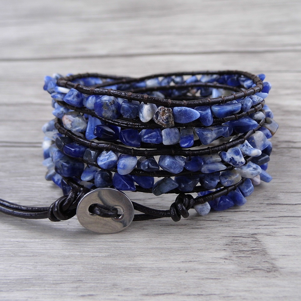 Blue bead Wrap Raw stone bead Blue beads wrap bracelet sodalite bracelet YOGA leather wrap bracelet BOHO bead jewelry