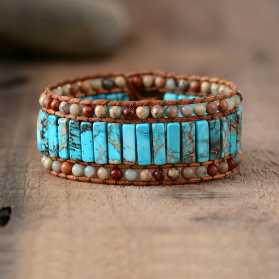 Bohemian Bracelet Unique Natural Stones Leather Wrap Bracelets Wholesale Cuff Bangles Bracelets Femme Jewelry Dropshipping