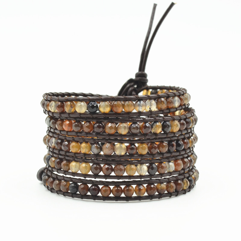 Boho Natural Stone Leather Wrap Bracelet Unisex Semi Precious Stone Beaded Weaving Bracelet women Leather Jewelry Dropshipping