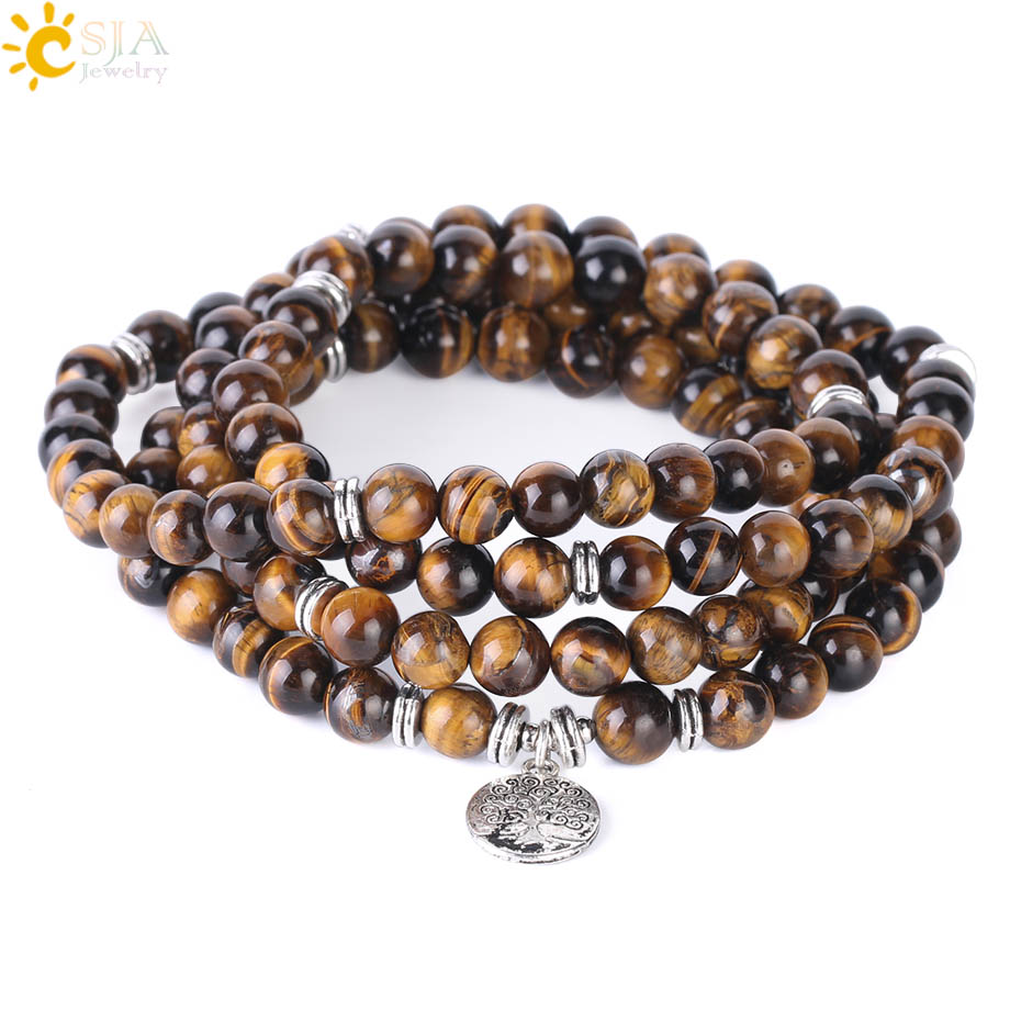 CSJA 108 Chakra Natural Gem Stone Tiger Eye Homme Bracelets Tree of Life 8mm Mala Beads Wrapped Bangle Men Ethnic Jewellery F411