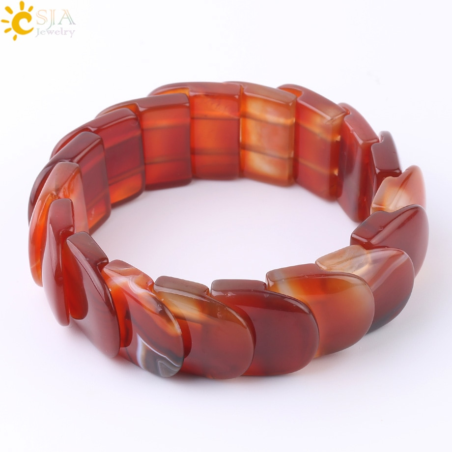 CSJA Natural Stone Red Agates Bracelet Wrist Wrapped Wide Bracelets Fingernail Shape Stones Bangles for Men Healing Jewelry F600