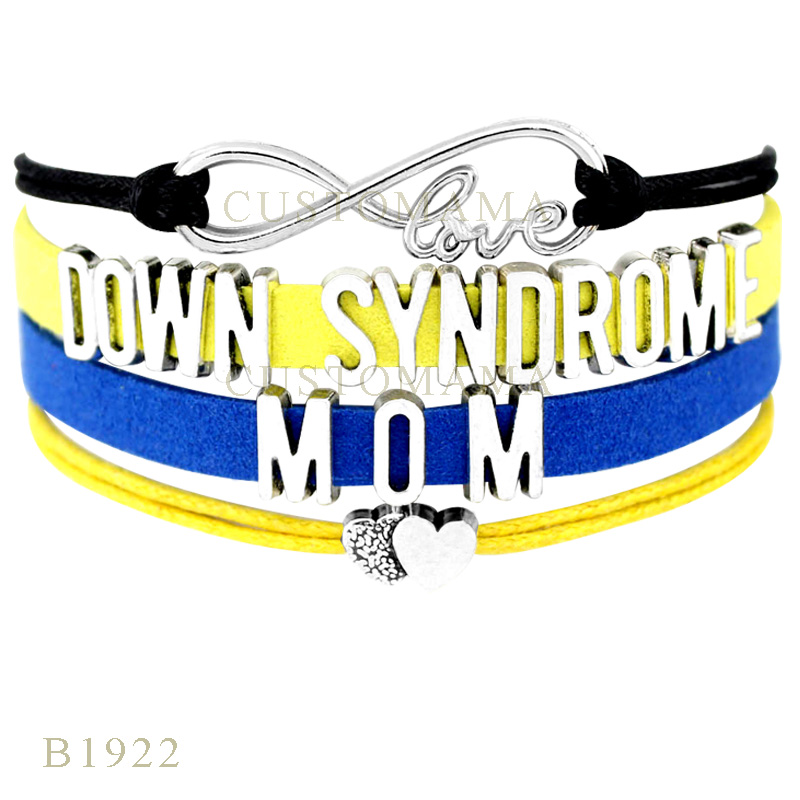 Custom- Infinity Love Down Syndrome Mom Double Heart Awareness Hope Ribbon Charm Bracelets For Women Blue Wrap Bracelets