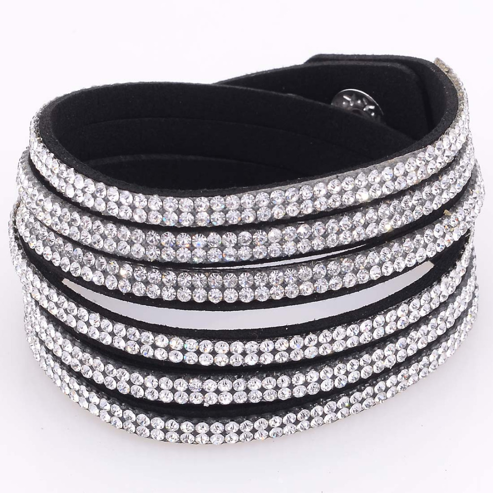 Double wrap suede leather 3 rows single color crystal bracelet double wrapped rhinestones bracelets
